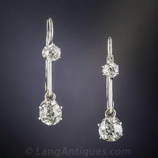 Antique Platinum Diamond Dangle Earrings