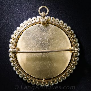 Antique Portrait Miniature in Pearl Frame Pin/Pendant
