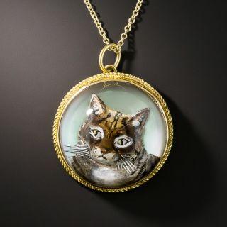 Antique Reverse Crystal Cat Pendant