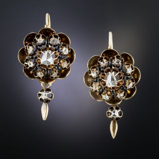 Antique Rose-Cut Diamond and Enamel Earrings - 2