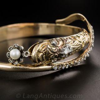 Antique Rose-Cut Diamond and Pearl Snake Bangle Bracelet