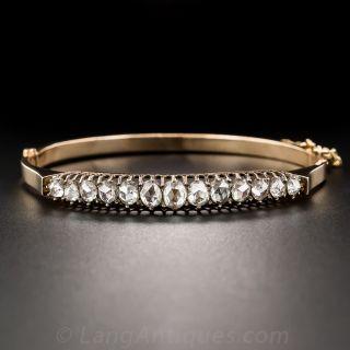 Antique Rose-Cut Diamond Bangle Bracelet