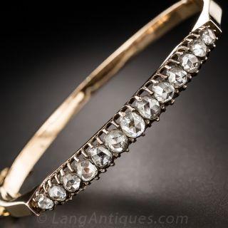 Antique Rose-Cut Diamond Bangle Bracelet - 5