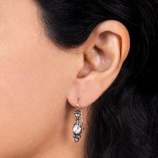 Antique Rose-Cut Diamond Dangle Earrings