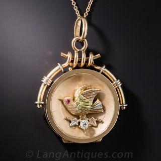 Antique Rose Gold Bird and Diamond Locket