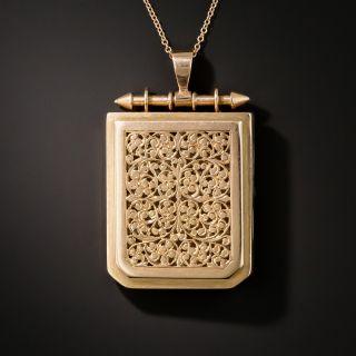Antique Rose Gold Pierced Locket - 2
