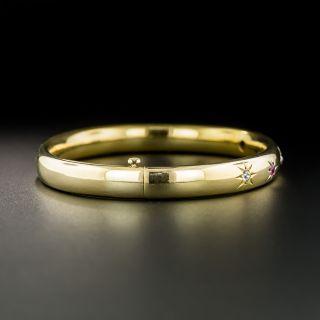 Antique Ruby and Diamond Bangle Bracelet, Circa 1900