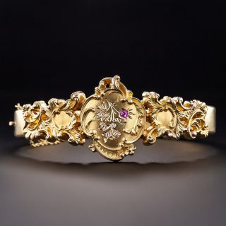 Antique Ruby and Rose-Cut Diamond Bangle Bracelet - 1