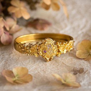 Antique Ruby and Rose-Cut Diamond Bangle Bracelet