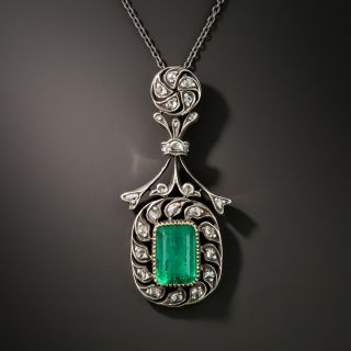 Antique Russian Emerald And Diamond Necklace - 3