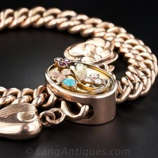 Antique Russian Rose Gold Slide Bracelet with Charms