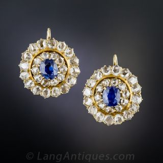 Antique Sapphire and Diamond Cluster Earrings - 2
