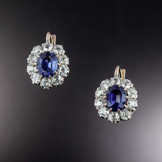 Antique Sapphire and Diamond Earrings, Circa 1900 - 1