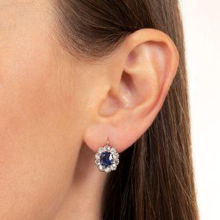 Antique Sapphire and Diamond Earrings, Circa 1900