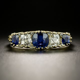 Antique Sapphire and Diamond Five-Stone Ring - 1