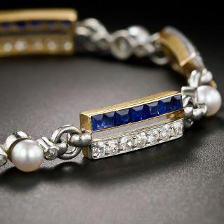 Antique Sapphire Diamond and Pearl Bracelet