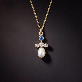 Antique Sapphire, Diamond, and Pearl Pendant, c. 1900 - 1