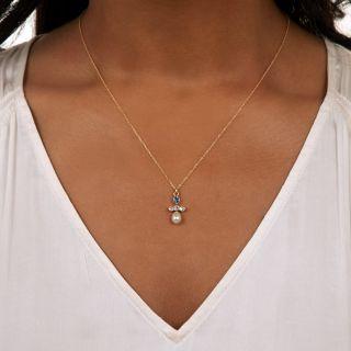 Antique Sapphire, Diamond, and Pearl Pendant, c. 1900