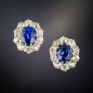 Antique Sapphire Diamond Halo Stud Earrings - 1