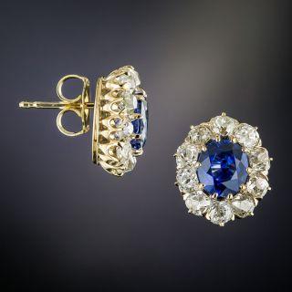 Antique Sapphire & Diamond Halo Stud Earrings