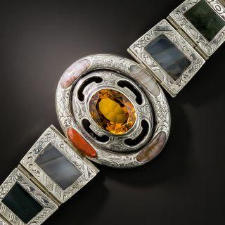 Antique Scottish Agate and Citrine Bracelet - 6