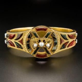 Antique Scottish Agate and Pearl Bangle Bracelet - 3