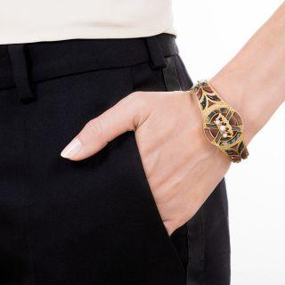 Antique Scottish Agate and Pearl Bangle Bracelet
