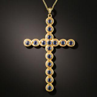Antique Sculpted Sapphire Cross - 3
