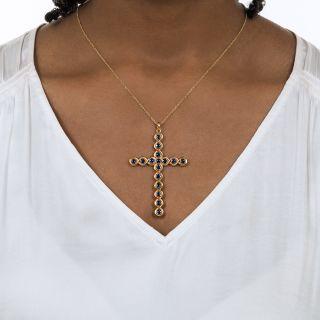 Antique Sculpted Sapphire Cross