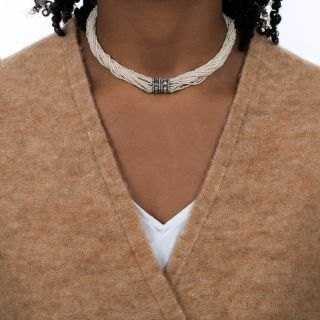 Antique Seed Pearl and Diamond Choker Necklace