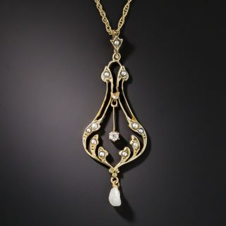Antique Seed Pearl and Diamond Lavaliere  - 1