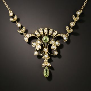 Antique Seed Pearl and Peridot Necklace - 3