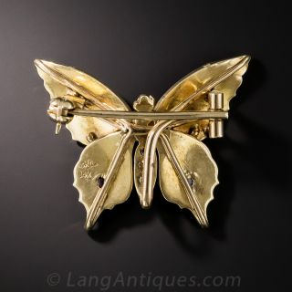 Antique Seed Pearl and Ruby Butterfly Pin - Riker Bros.