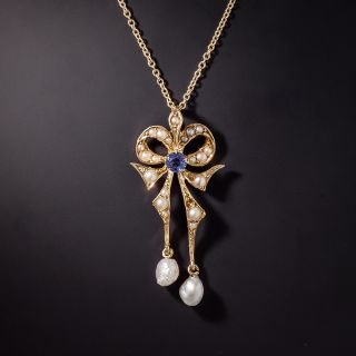 Antique Seed Pearl and Sapphire Lavalier - 1