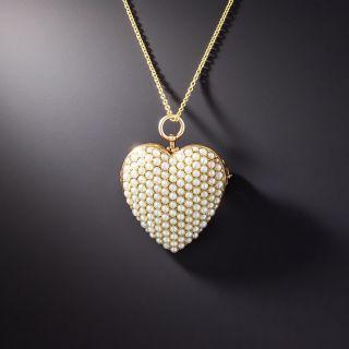 Antique Seed Pearl Heart Pendant/Pin by Krementz - 1