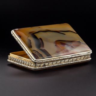 Antique Silver and Agate Box - 1