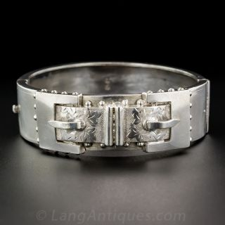 Antique Silver Buckle Bangle Bracelet