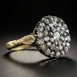 Antique Silver Over Gold Diamond Cluster Ring