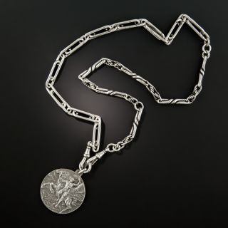 Antique Silver Watch Chain Necklace w/ Fiera Milano Medal - 4