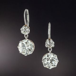 Antique Style 8.13 Total Carat Weight Diamond Dangle Earrings - GIA - 1