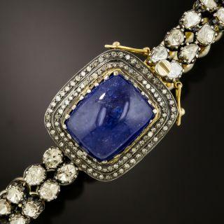Antique Style Cabochon Tanzanite and Rose-Cut Diamond Bracelet - 2