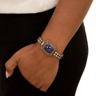 Antique Style Cabochon Tanzanite and Rose-Cut Diamond Bracelet