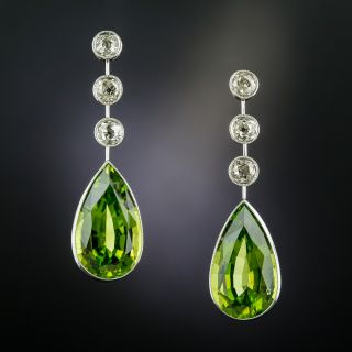 Antique Style Peridot and Diamond Earrings - 1