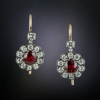 Antique Style Ruby and Diamond Drop Earrings - 2