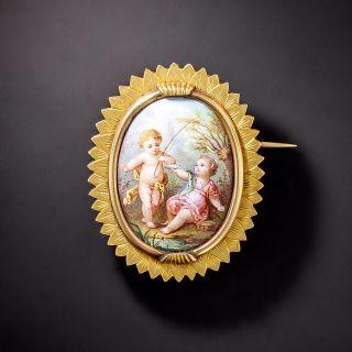 Antique Swiss Enamel Picture Brooch - 1
