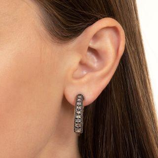 Antique Table-Cut Diamond Ear Hoops