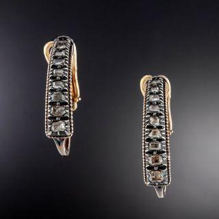 Antique Table-Cut Diamond Ear Hoops - 1
