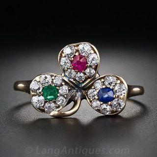 Antique Three Leaf Clover Ring  - 1