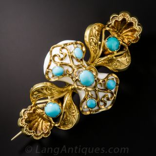 Antique Turquoise Victorian Brooch