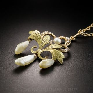 Antique Two-Tone Freshwater Pearl Pendant